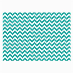 Turquoise And White Zigzag Pattern Glasses Cloth (large, Two Sided) by Zandiepants