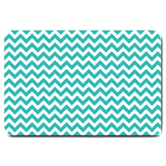 Turquoise And White Zigzag Pattern Large Door Mat by Zandiepants