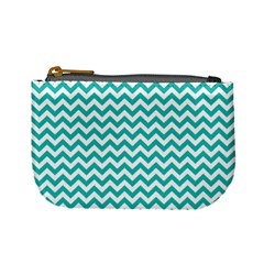 Turquoise And White Zigzag Pattern Coin Change Purse by Zandiepants