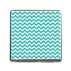 Turquoise And White Zigzag Pattern Memory Card Reader With Storage (square) by Zandiepants