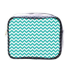 Turquoise And White Zigzag Pattern Mini Travel Toiletry Bag (one Side) by Zandiepants