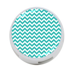 Turquoise And White Zigzag Pattern 4-Port USB Hub (One Side) by Zandiepants