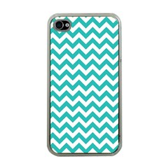 Turquoise And White Zigzag Pattern Apple Iphone 4 Case (clear) by Zandiepants