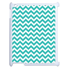 Turquoise And White Zigzag Pattern Apple Ipad 2 Case (white) by Zandiepants