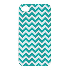 Turquoise And White Zigzag Pattern Apple Iphone 4/4s Premium Hardshell Case by Zandiepants