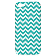 Turquoise And White Zigzag Pattern Apple Iphone 5 Hardshell Case by Zandiepants
