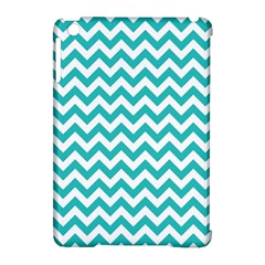 Turquoise And White Zigzag Pattern Apple Ipad Mini Hardshell Case (compatible With Smart Cover) by Zandiepants