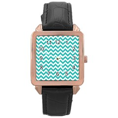 Turquoise And White Zigzag Pattern Rose Gold Leather Watch  by Zandiepants