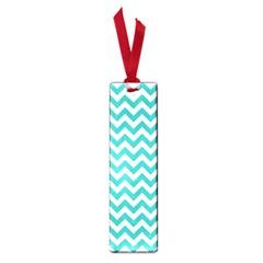 Turquoise And White Zigzag Pattern Small Bookmark by Zandiepants
