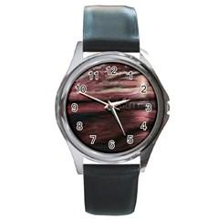 Pier At Midnight Round Leather Watch (silver Rim) by TonyaButcher
