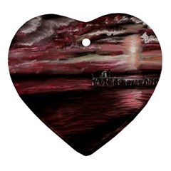 Pier At Midnight Heart Ornament by TonyaButcher