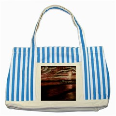 Pier At Midnight Blue Striped Tote Bag by TonyaButcher