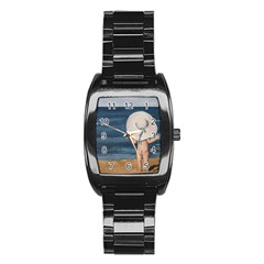Mom s White Hat Stainless Steel Barrel Watch by TonyaButcher