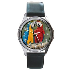 Feathered Friends Round Leather Watch (silver Rim) by TonyaButcher
