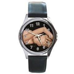 Alluring Round Leather Watch (Silver Rim)