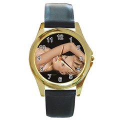 Alluring Round Leather Watch (gold Rim)  by TonyaButcher