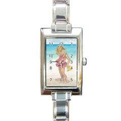 Beach Play Sm Rectangular Italian Charm Watch by TonyaButcher