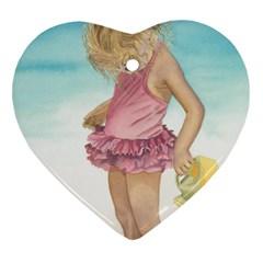Beach Play Sm Heart Ornament (two Sides) by TonyaButcher