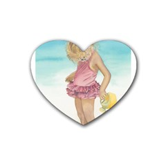Beach Play Sm Drink Coasters 4 Pack (heart)  by TonyaButcher