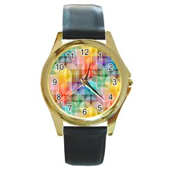 Circles Round Leather Watch (gold Rim)  by Lalita