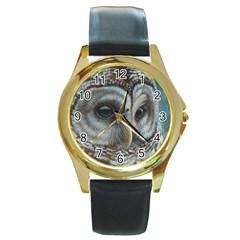 Barred Owl Round Leather Watch (gold Rim)  by TonyaButcher