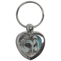Barred Owl Key Chain (heart) by TonyaButcher