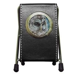 Barred Owl Stationery Holder Clock by TonyaButcher