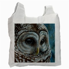 Barred Owl White Reusable Bag (two Sides) by TonyaButcher