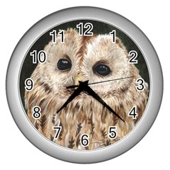 Tawny Owl Wall Clock (silver) by TonyaButcher