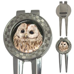 Tawny Owl Golf Pitchfork & Ball Marker by TonyaButcher
