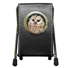 Tawny Owl Stationery Holder Clock by TonyaButcher