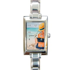 A Day At The Beach Rectangular Italian Charm Watch by TonyaButcher