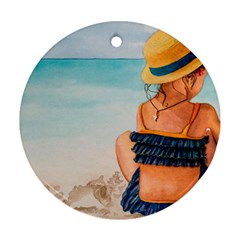 A Day At The Beach Round Ornament by TonyaButcher