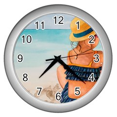 A Day At The Beach Wall Clock (silver) by TonyaButcher