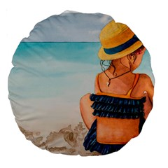 A Day At The Beach 18  Premium Round Cushion  by TonyaButcher