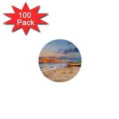 Sunset Beach Watercolor 1  Mini Button (100 Pack) by TonyaButcher