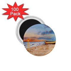 Sunset Beach Watercolor 1 75  Button Magnet (100 Pack) by TonyaButcher