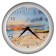 Sunset Beach Watercolor Wall Clock (silver) by TonyaButcher