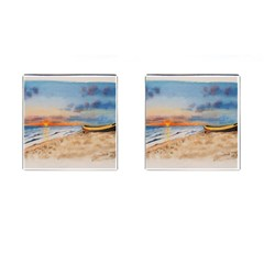 Sunset Beach Watercolor Cufflinks (square) by TonyaButcher