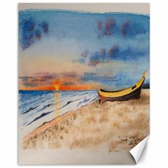 Sunset Beach Watercolor Canvas 11  X 14  (unframed) by TonyaButcher