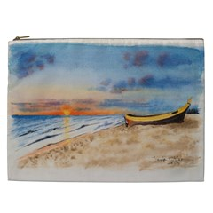 Sunset Beach Watercolor Cosmetic Bag (xxl)