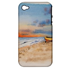Sunset Beach Watercolor Apple Iphone 4/4s Hardshell Case (pc+silicone)