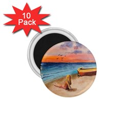 Alone On Sunset Beach 1 75  Button Magnet (10 Pack)
