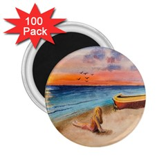 Alone On Sunset Beach 2 25  Button Magnet (100 Pack) by TonyaButcher