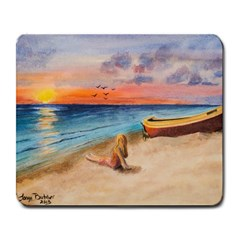 Alone On Sunset Beach Large Mouse Pad (rectangle) by TonyaButcher