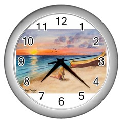 Alone On Sunset Beach Wall Clock (silver) by TonyaButcher
