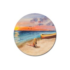 Alone On Sunset Beach Magnet 3  (round) by TonyaButcher
