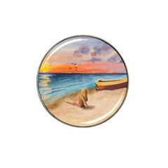 Alone On Sunset Beach Golf Ball Marker (for Hat Clip) by TonyaButcher