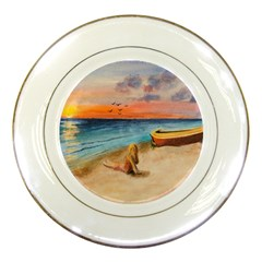 Alone On Sunset Beach Porcelain Display Plate by TonyaButcher