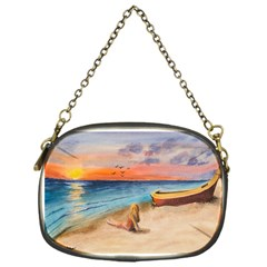 Alone On Sunset Beach Chain Purse (one Side)